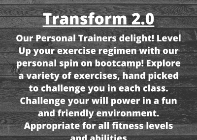Description of Transform 2.0 class behind a wood floor background