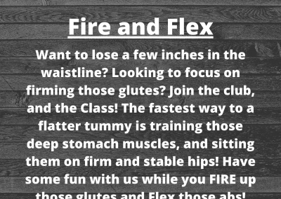 Description of Fire and Flex class behind a wood floor background